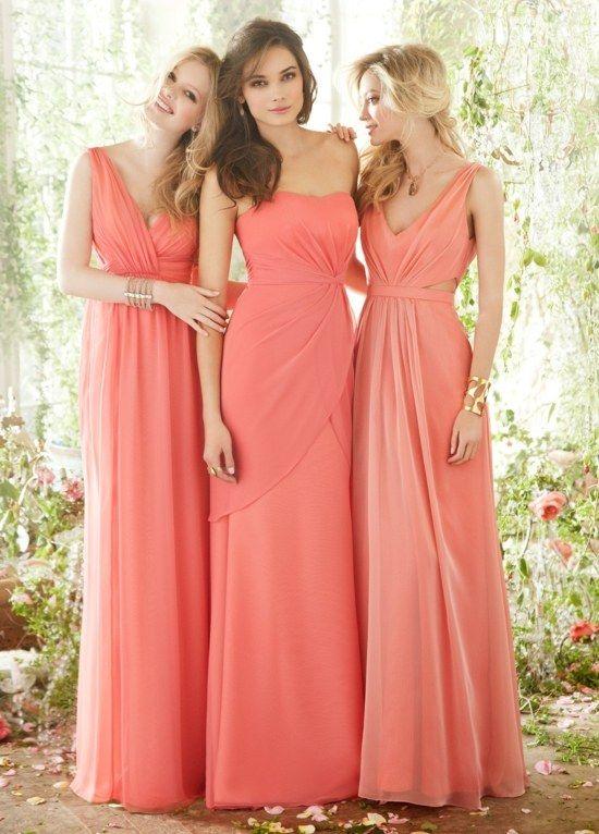 drei Modelle Brautjungfer Kleider Pfirsichtfarbe Korsage