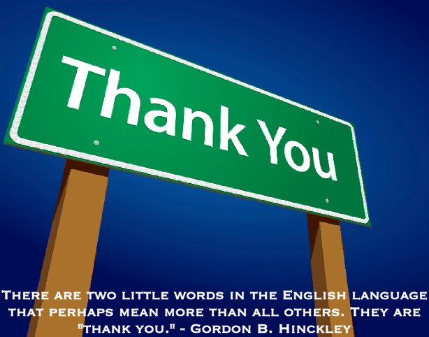 Thank you - 2 important little words.