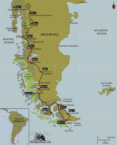 Map Of Patagonia End Of The Earth Motorcycle Adventure Click Here - Map 0f argentina