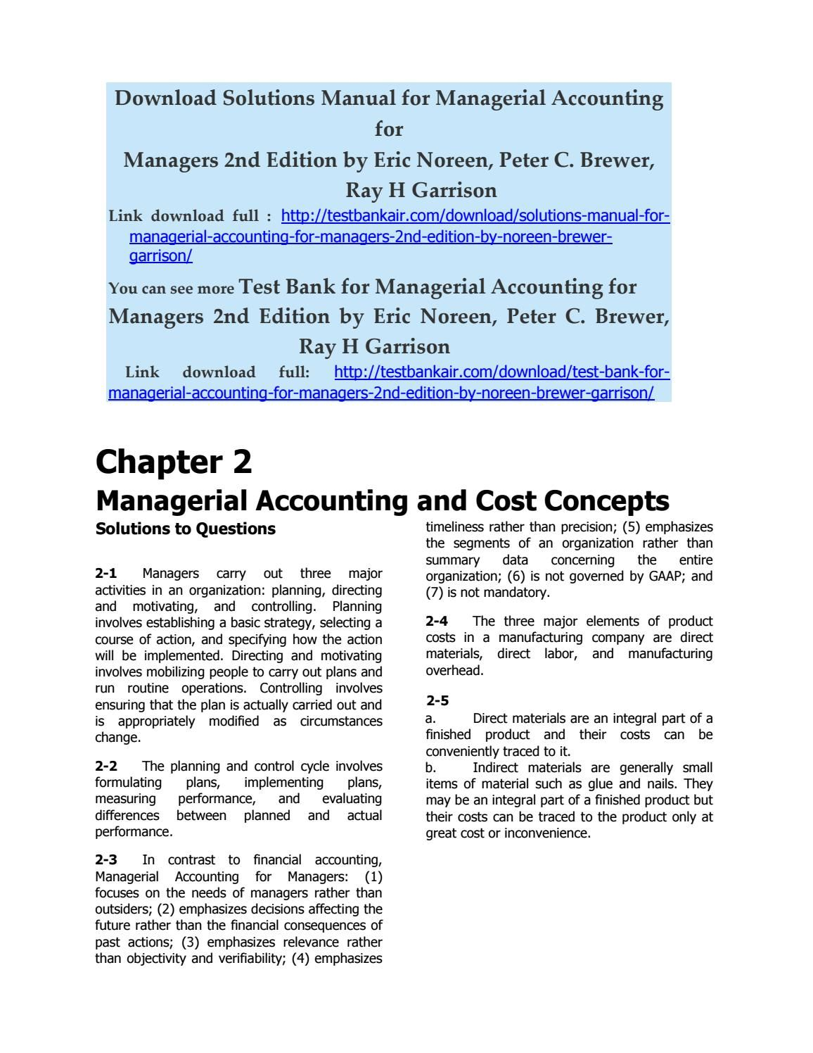 Solutions Manual for Managerial Accounting for Managers 2nd Edition by  Noreen Brewer Garrison