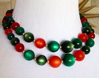Coro Moonglow Necklace Red Green Vintage 1950s Multi Strand Choker