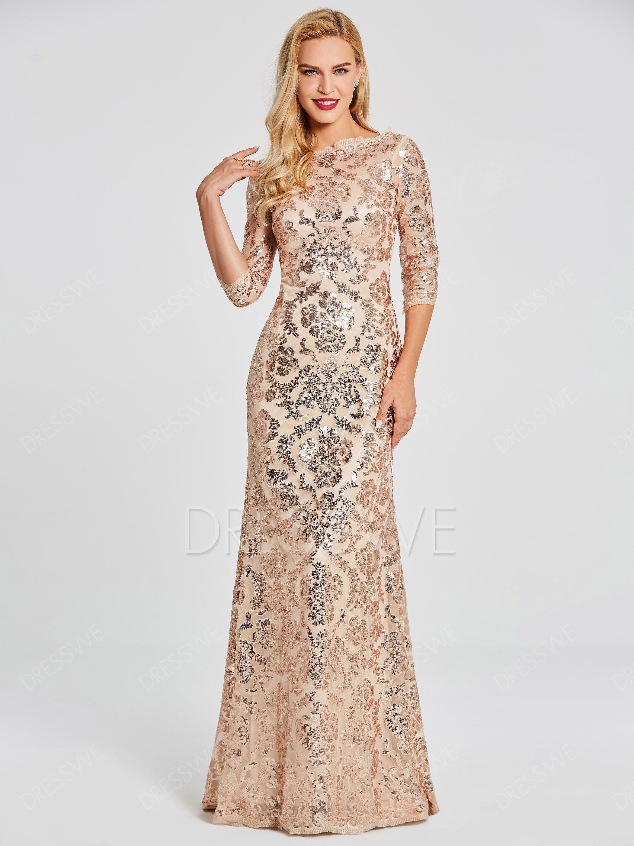 3 4 Sleeve Scoop Neck Sequin Mermaid Evening Dress Material Sequins Evening Dresses With Sleeves Evening Dress Floor Length Evening Dresses [ 2800 x 2100 Pixel ]