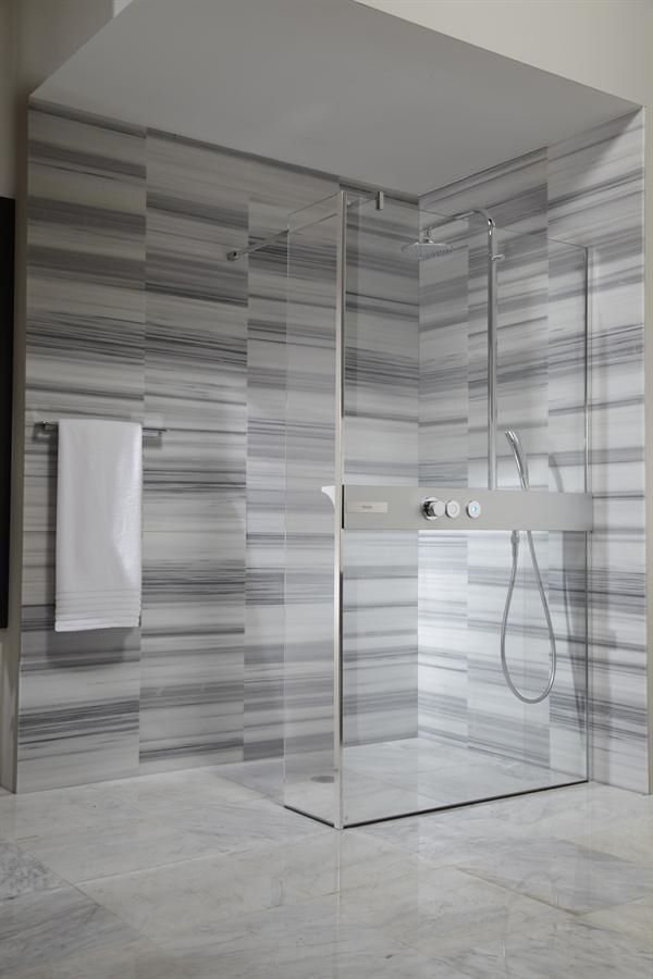 Contemporary Bathroom Design Gray Wall Tiles Curbless Shower Glass Panel Partitions