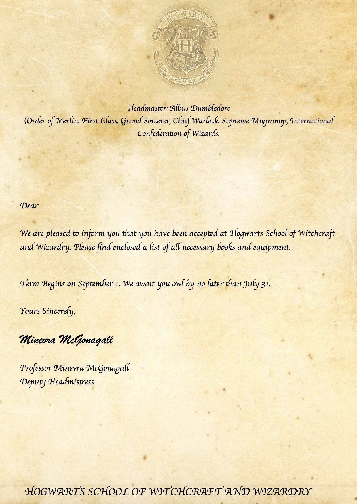 28 Hogwarts Acceptance Letter Template Printable In 2020