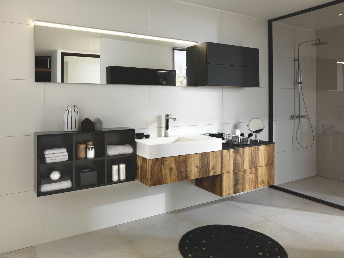 salle de bain noir meuble vasque