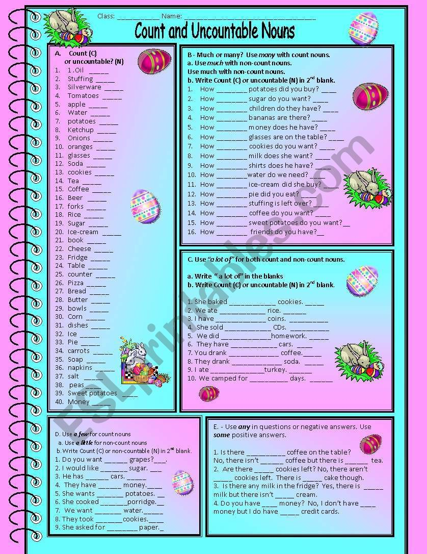 Works Sheet And Answer Key For Count And Uncountable Nouns Includes 5 Exercises On Count And Uncountable Nouns Uncountable Nouns Nouns Vocabulary Worksheets