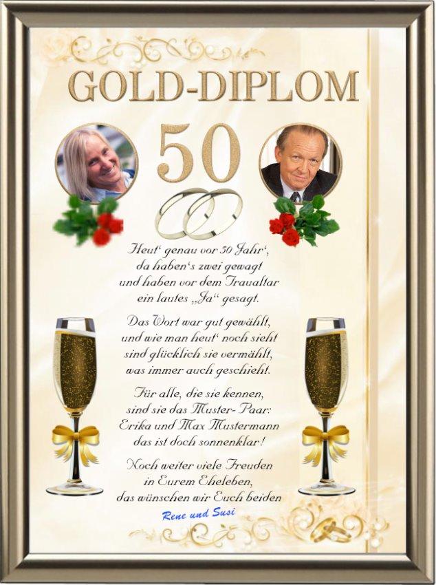 Gold Diplom Zur Goldenen Hochzeit Premium Urkunden Shop24 Wedding Cards Cards Birthday