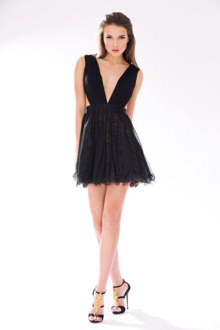Rochie de cocktail din tul de matase cu decolteu in V SKA361
