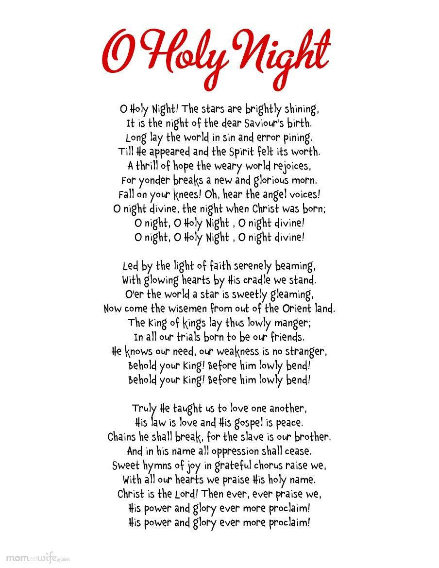 My favourite christmas carol! Holy night lyrics, O holy