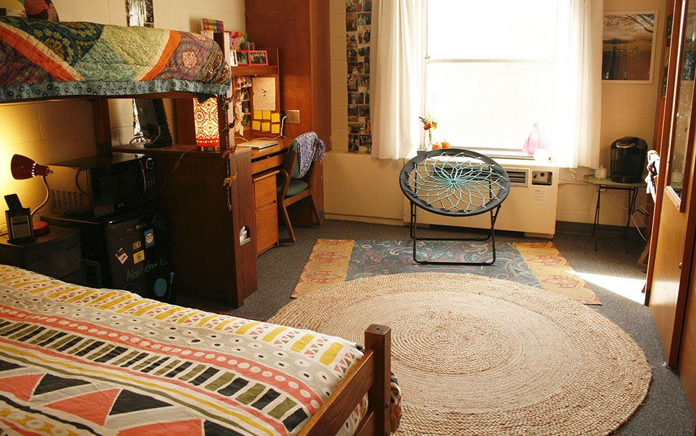 Dorm Room In Teter At Iu Second Bed Raised Too So We Can Have Couch Under And Tv Across Dorm Room Dorm Inspiration Dorm Room Organization Diy