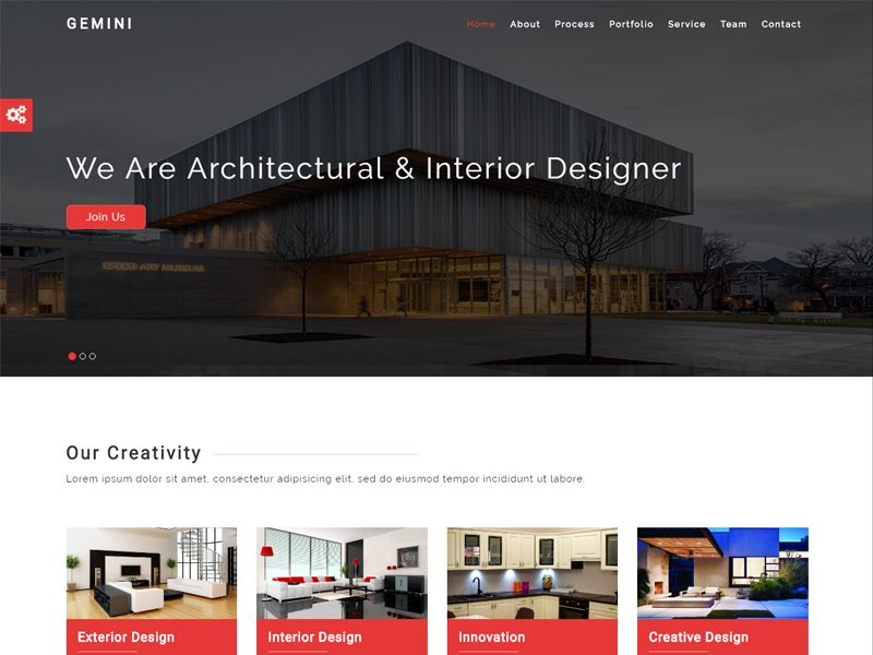 Gemini is an Interior Free HTML Template, responsive one page based on interior design templates, furniture design templates, room design templates, newsletter design templates, landscaping design templates, bathroom design templates, architecture design templates, fireplace design templates,