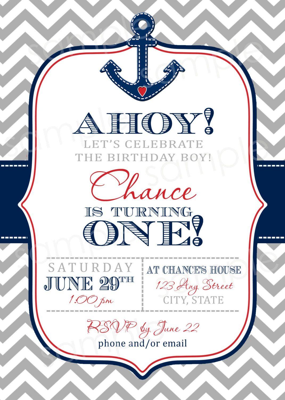 AHOY Nautical Chevron Print Birthday Invite DIY by modpoddesigns ...