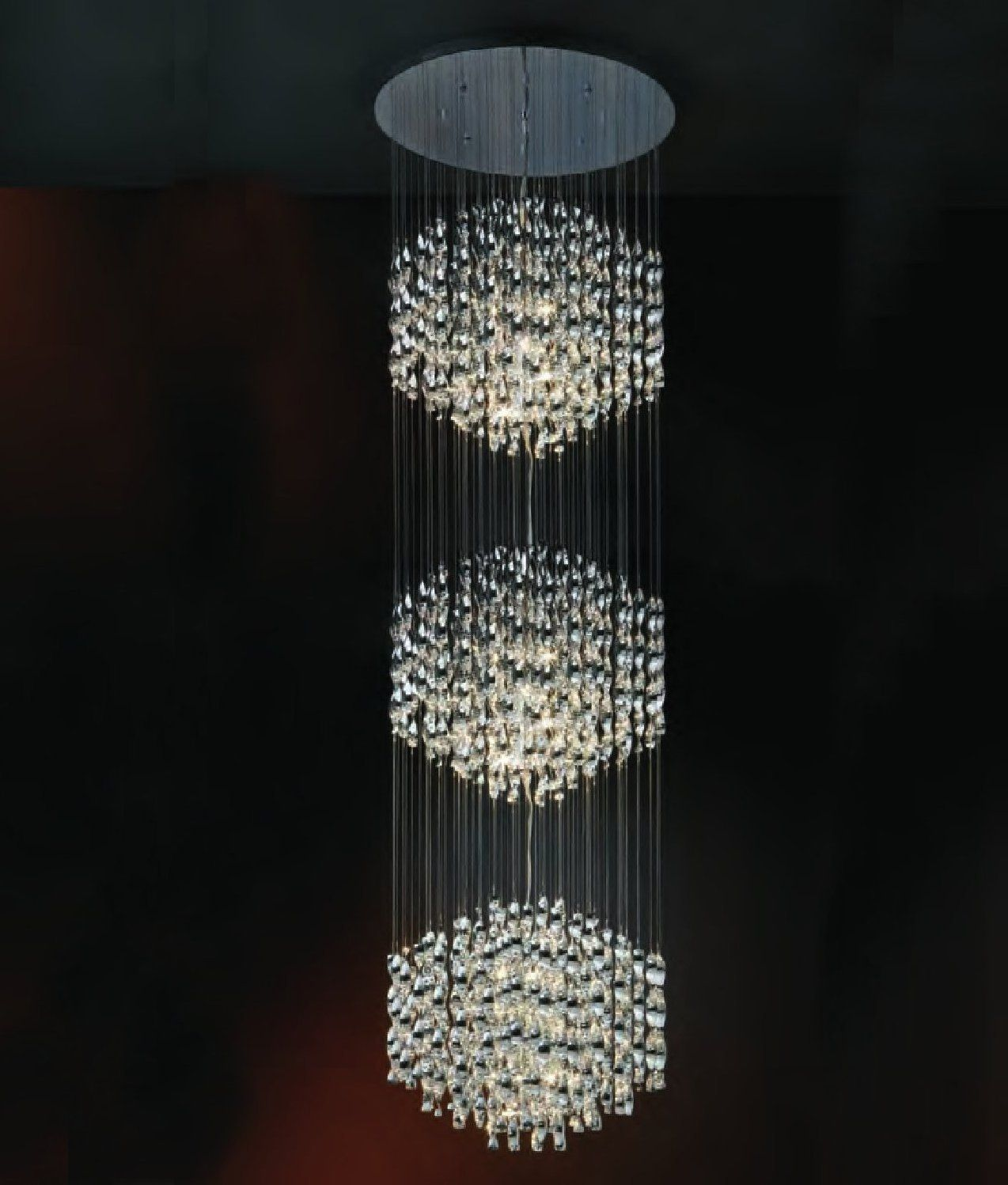 drop pendant lighting. A Hanging Spiral Long Drop Pendant In Chrome, Prefect For Installation On Tall Ceilings Or Atriums, From Lighting Styles.