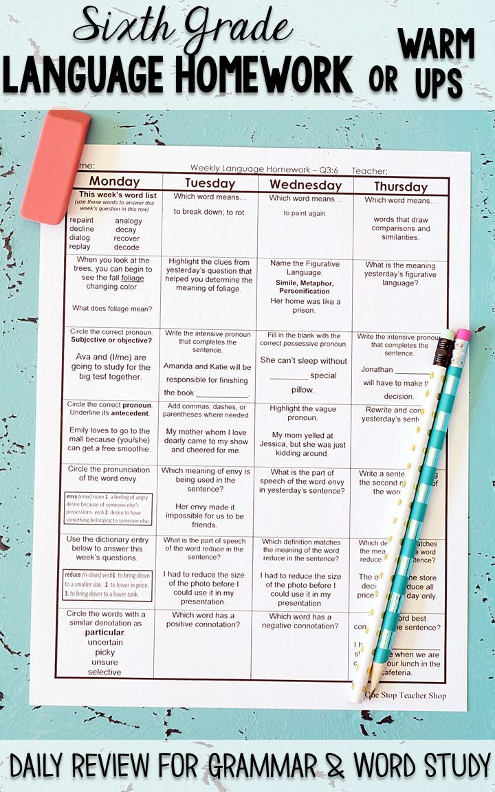 worksheet Moving Words Math Worksheet Answers 6th grade language homework spiral review grammar review