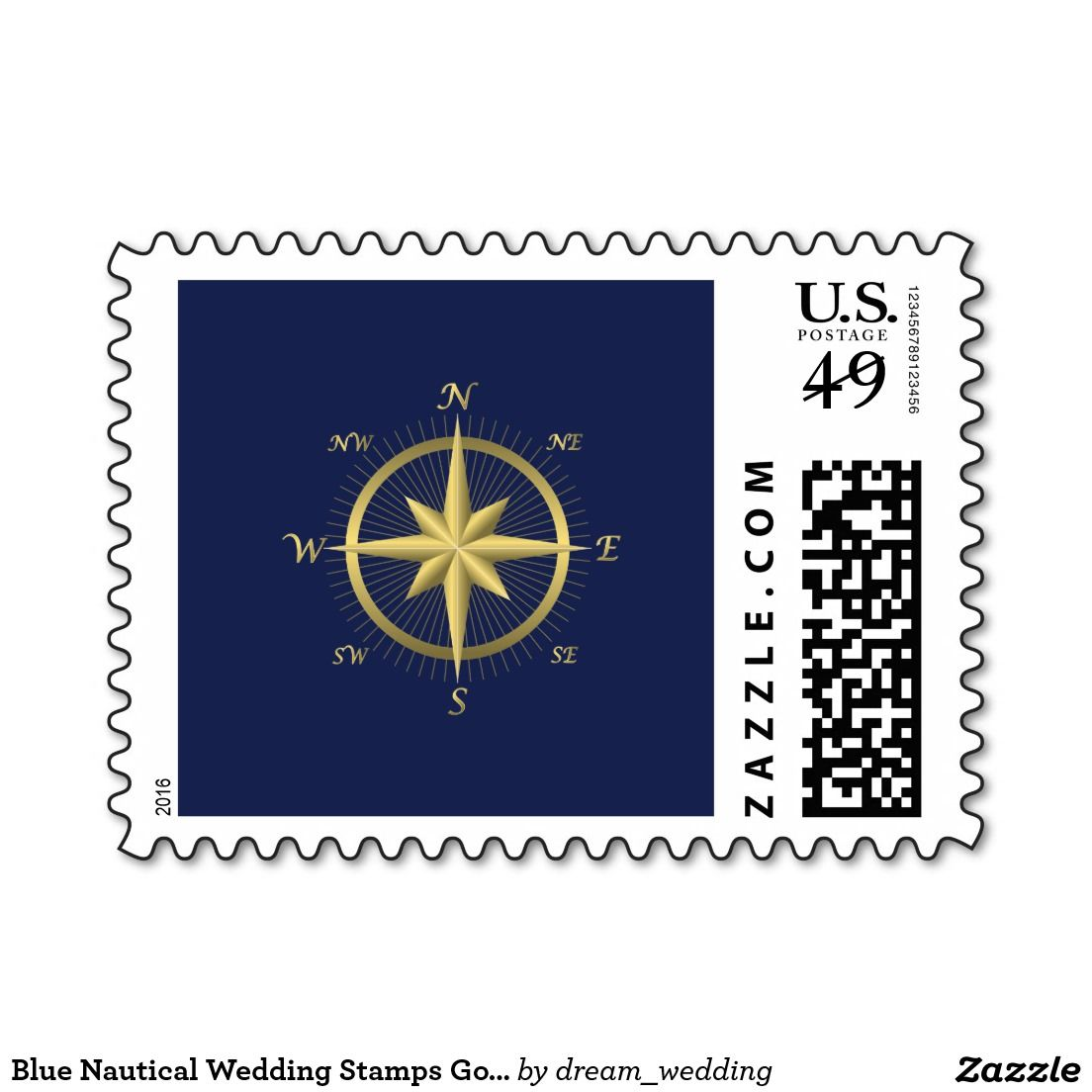 Blue Nautical Wedding Stamps Gold Compass Zazzle And