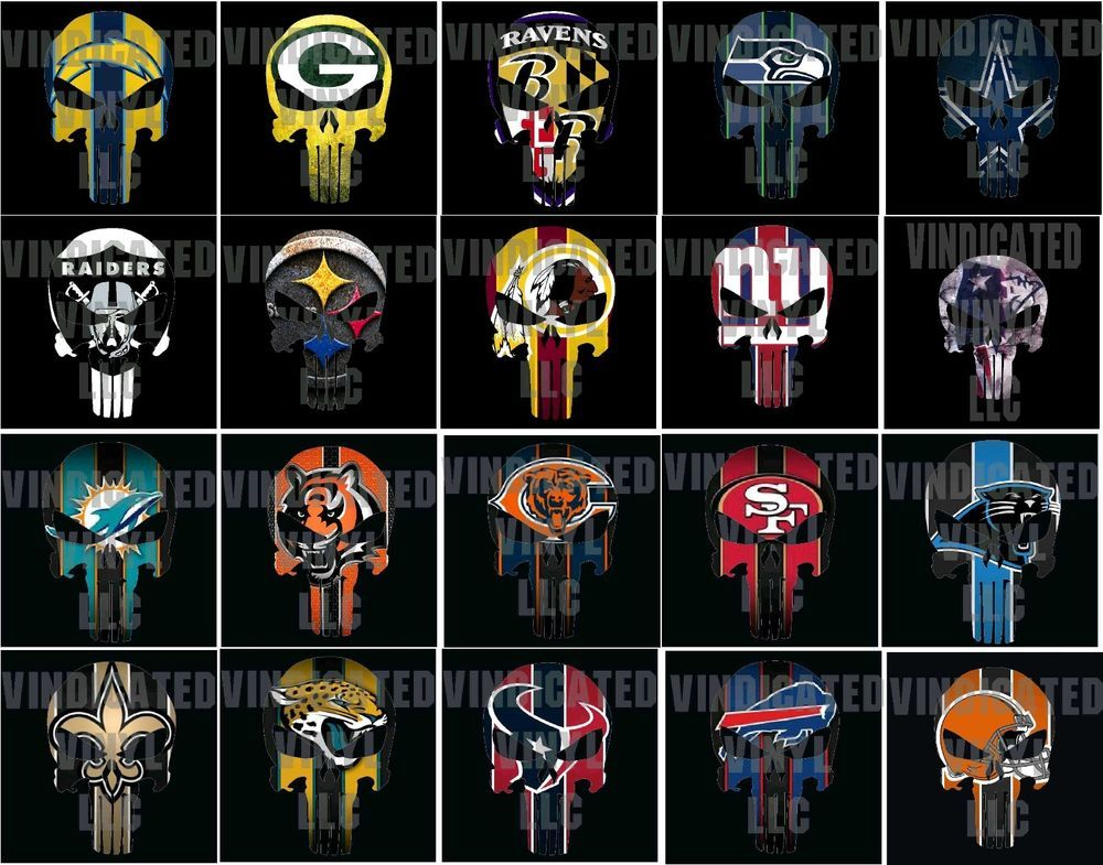 Nfl Punisher Skull Decal All Teams Afc Nfc Sticker