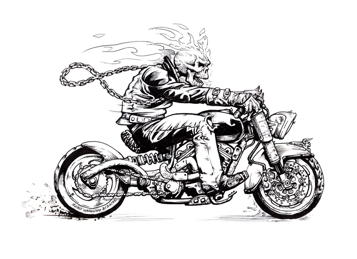 Skeleton Riding A Motorcycle
