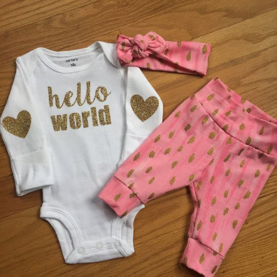 outfit pink mint charcoal theme hello world baby shower gift new baby