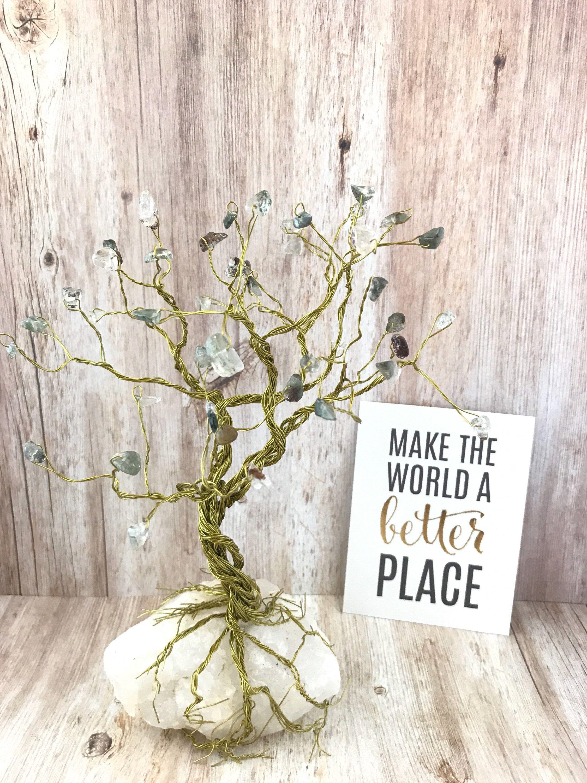 Gem Tree Sculpture, Prehnite Gemstones on Gold Wire Wrapping, Tree ...