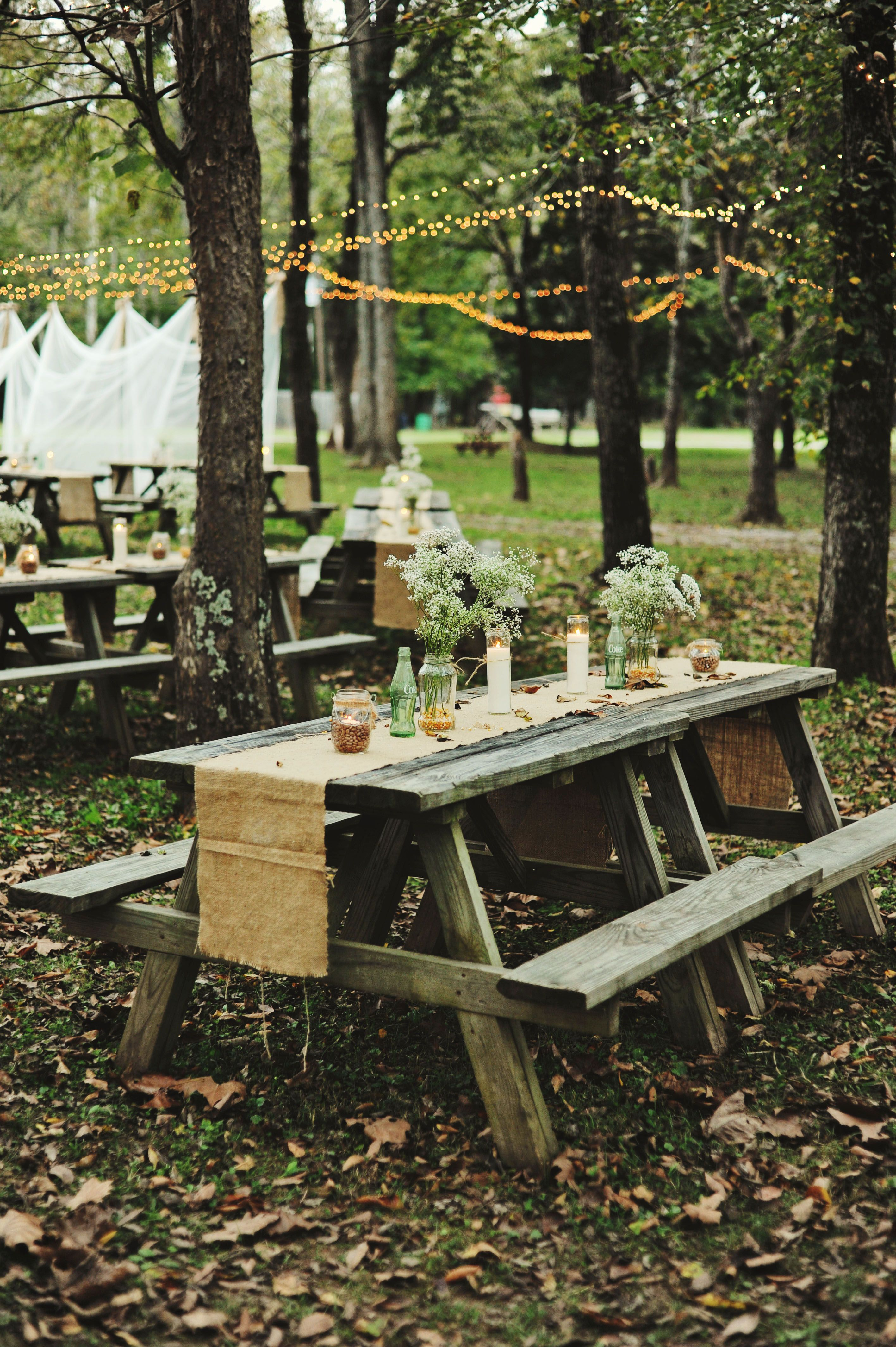 Picnic Style Outdoor Wedding Reception Captured By