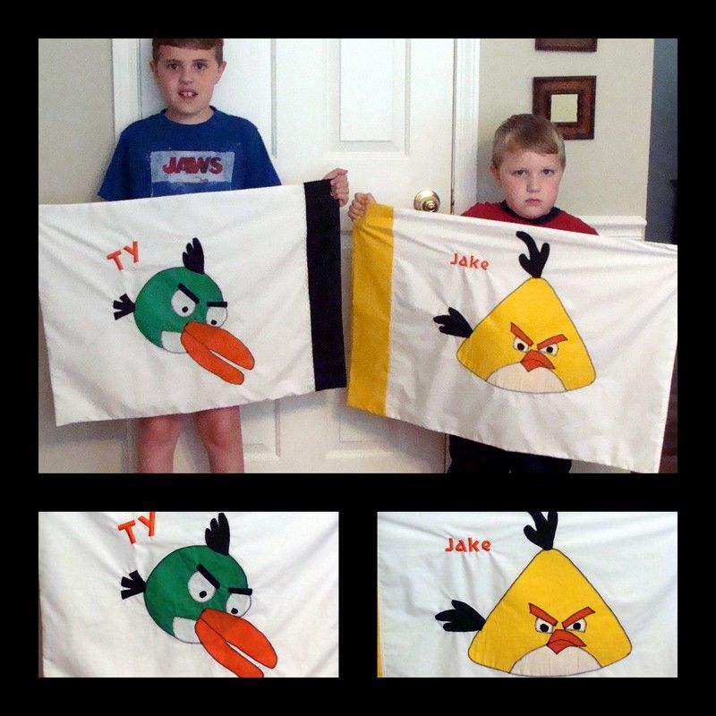 My Grandson on the left made the patterns and I appliqued them onto pillow cases, they are now saying I am the most awesome Grandma EVER!
