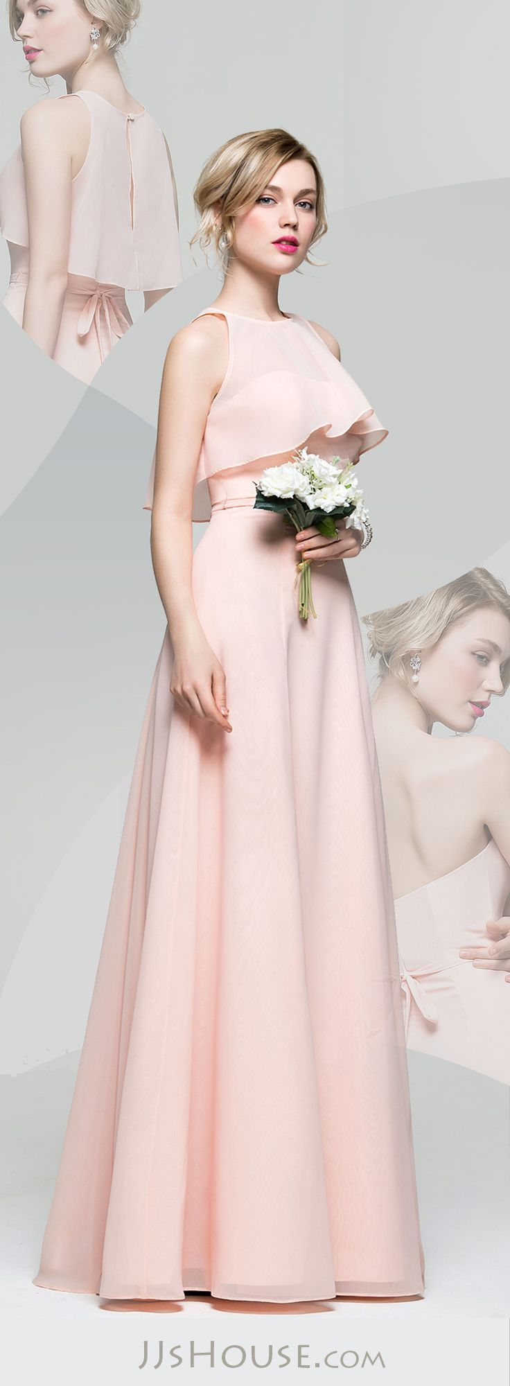 cbf4b65ec49 A-Line Princess Sweetheart Floor-Length Chiffon Bridesmaid Dress With Bow(s)