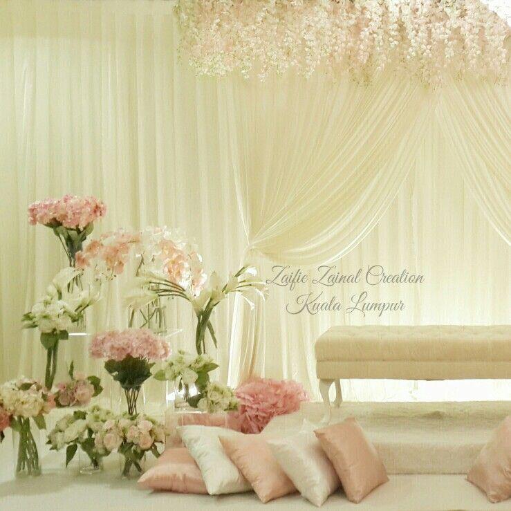 Wedding Nikah Simple Backdrop Decoration Muslim: Pelamin Nikah/tunang By ZZCKL. Pink, Off White