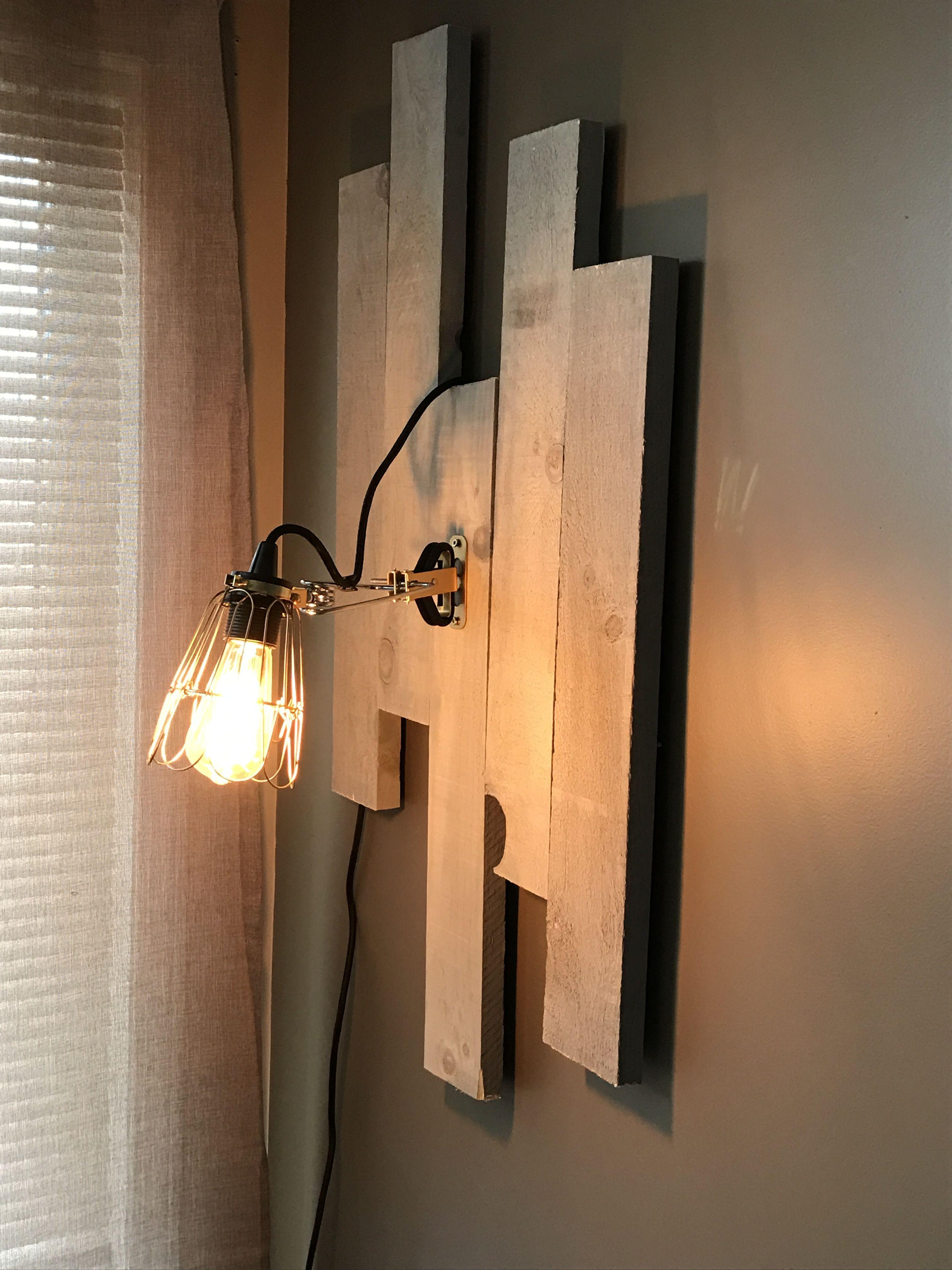 DIY Wall light with barn wood. Wall lights, Diy wall