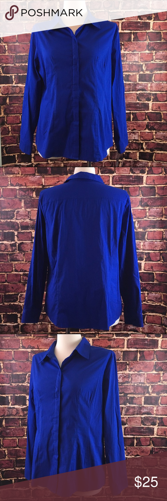 NWT Royal Blue Stretch Dress Shirt XL NWT Apartment 9 women\'s button ...