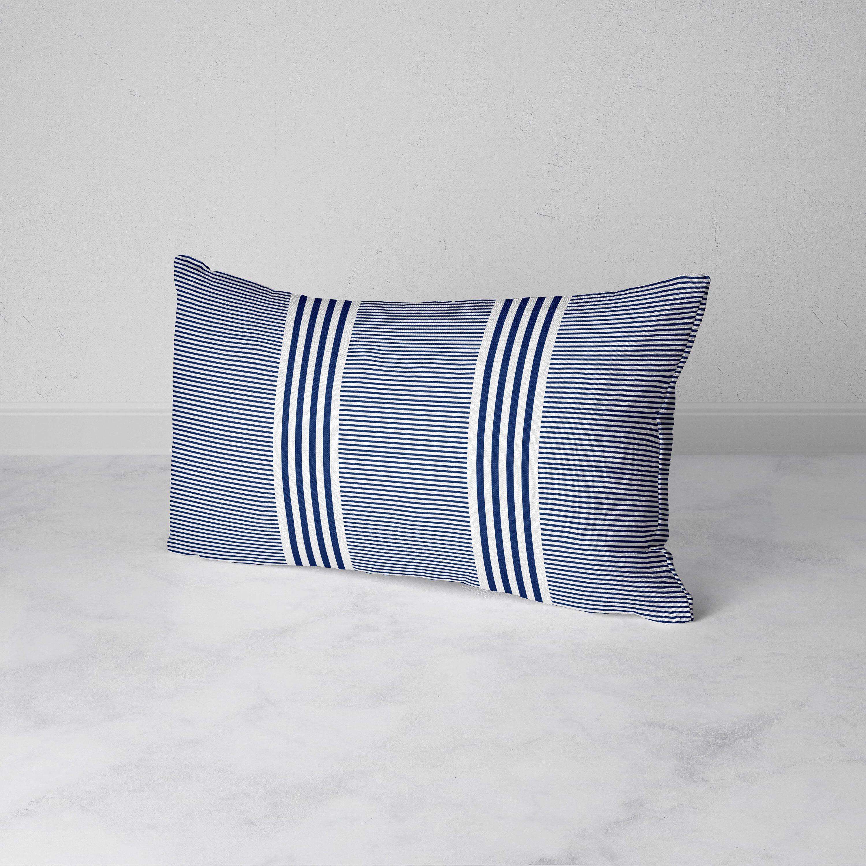 Navy Blue Striped Lumbar Throw Pillow 12x20 Decorative Pillow