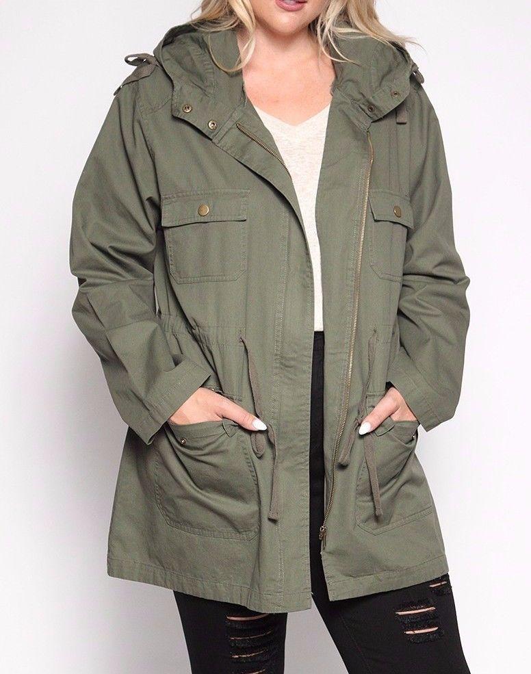 07e8a368ea9 TheMogan Women s Plus Size Oversized Anorak Jacket Utility Military Trench  Coat  TheMogan  Military