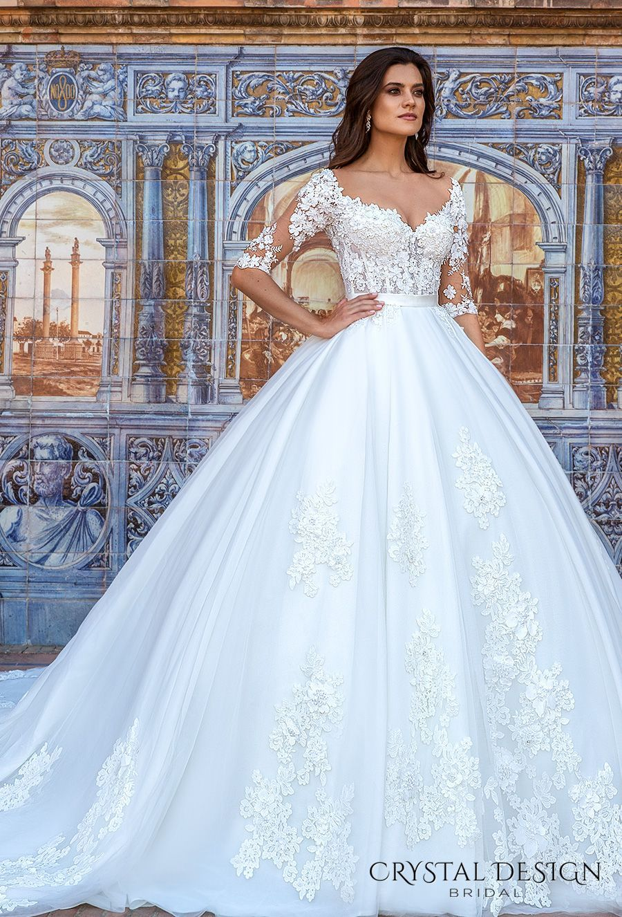 Crystal design bridal half sleeves sweetheart neckline heavily