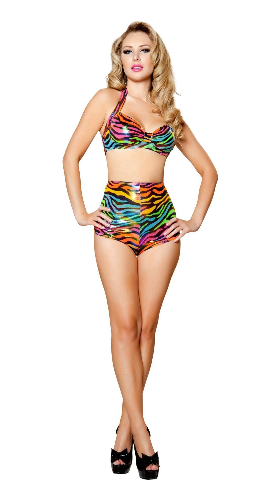 df9ca93412c64 Sexy Vintage Bikini wit Rainbow Zebra Print, High Waist Panties & Bra Top
