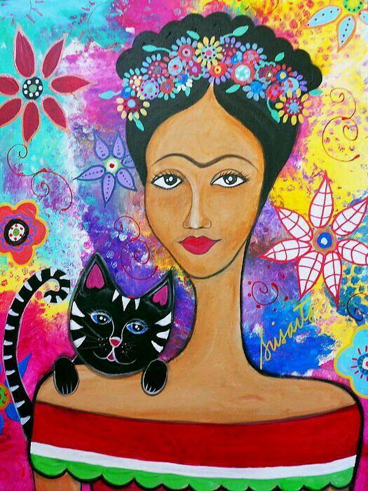 Frida con gato