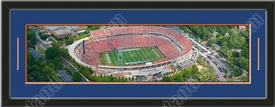 This framed large University of Virginia stadium panoramic, double matted in team colors to 39 x 13.5 inches.  The lines show the bottom mat color. $129.99  @ ArtandMore.com