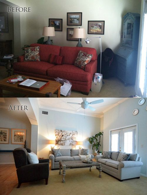 Before After Living Room Mhm Professional Staging Llc Home
