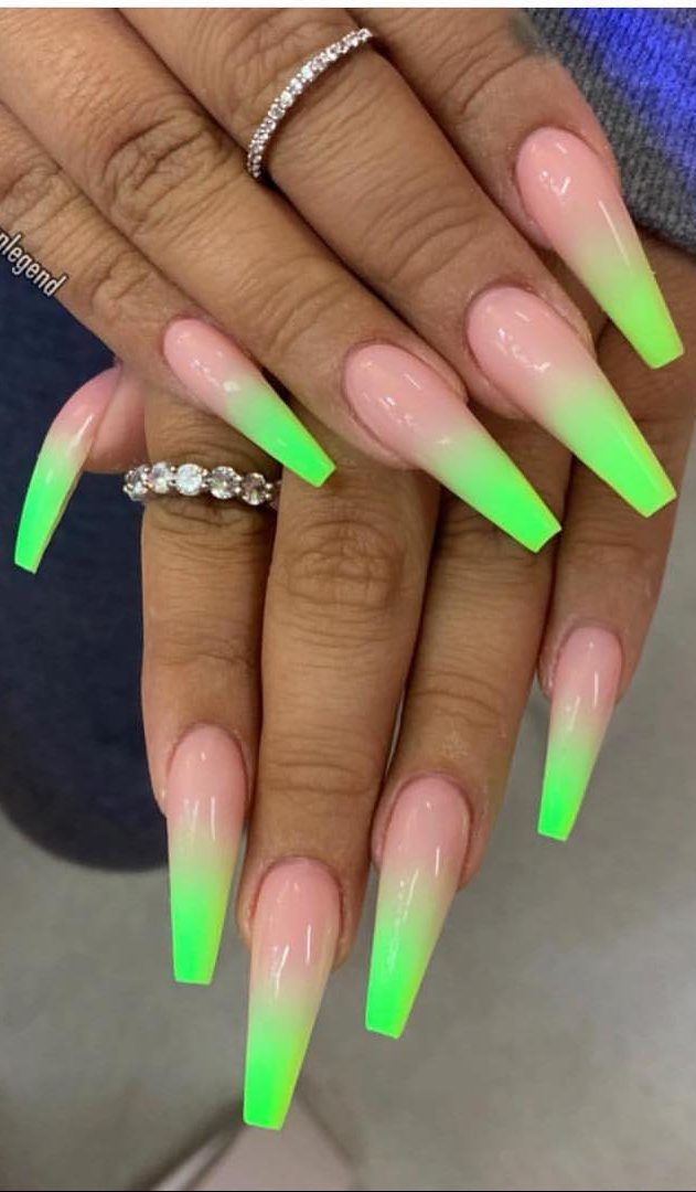 38 Creative And Newest Acrylic Nails Designs For This Year Part 23 Neon Green Nails Coffin Nails Long Neon Acrylic Nails