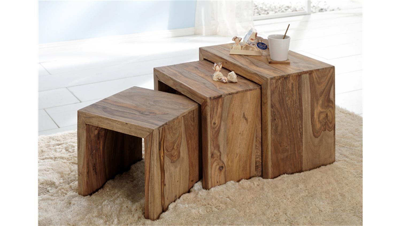 3 Satz Tisch Beistelltisch Yoga Sheesham Massiv Wolf Möbel Wolf Möbel Wohnzimmertische Kleiner Couchtisch