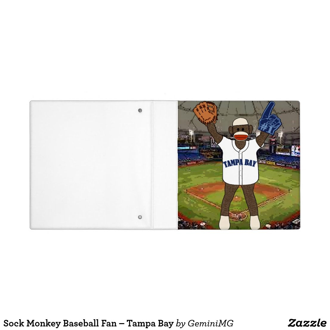 Sock Monkey Baseball Fan – Tampa Bay 3 Ring Binder | Zazzle.com #sockmoneky