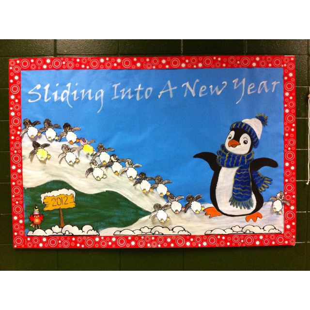 New Year bulletin board. | Winter bulletin boards ...