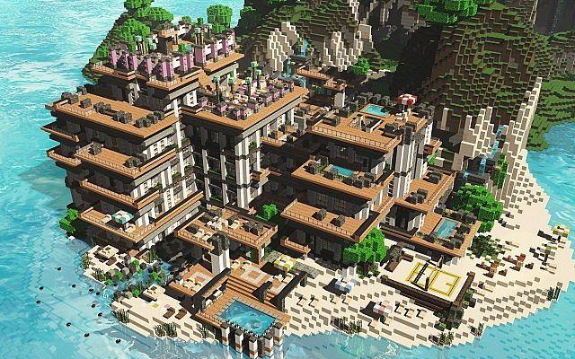 Tropical Hotel Minecraft World Save Minecraft Projects Amazing Minecraft Minecraft Plans