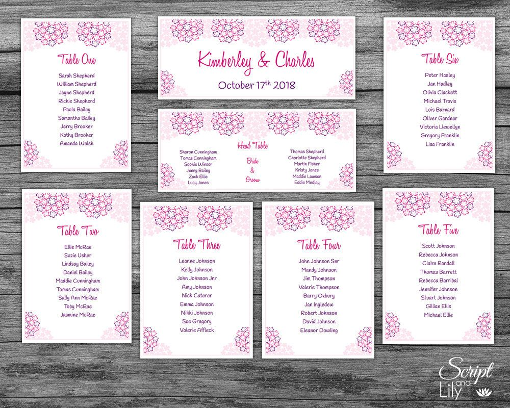 Pink Table Seating Chart INSTANT DOWNLOAD EDITABLE