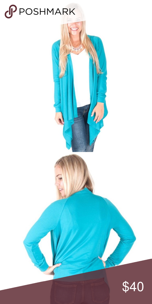 Turquoise Claire Waterfall Sweater Boutique | Wardrobes and Turquoise