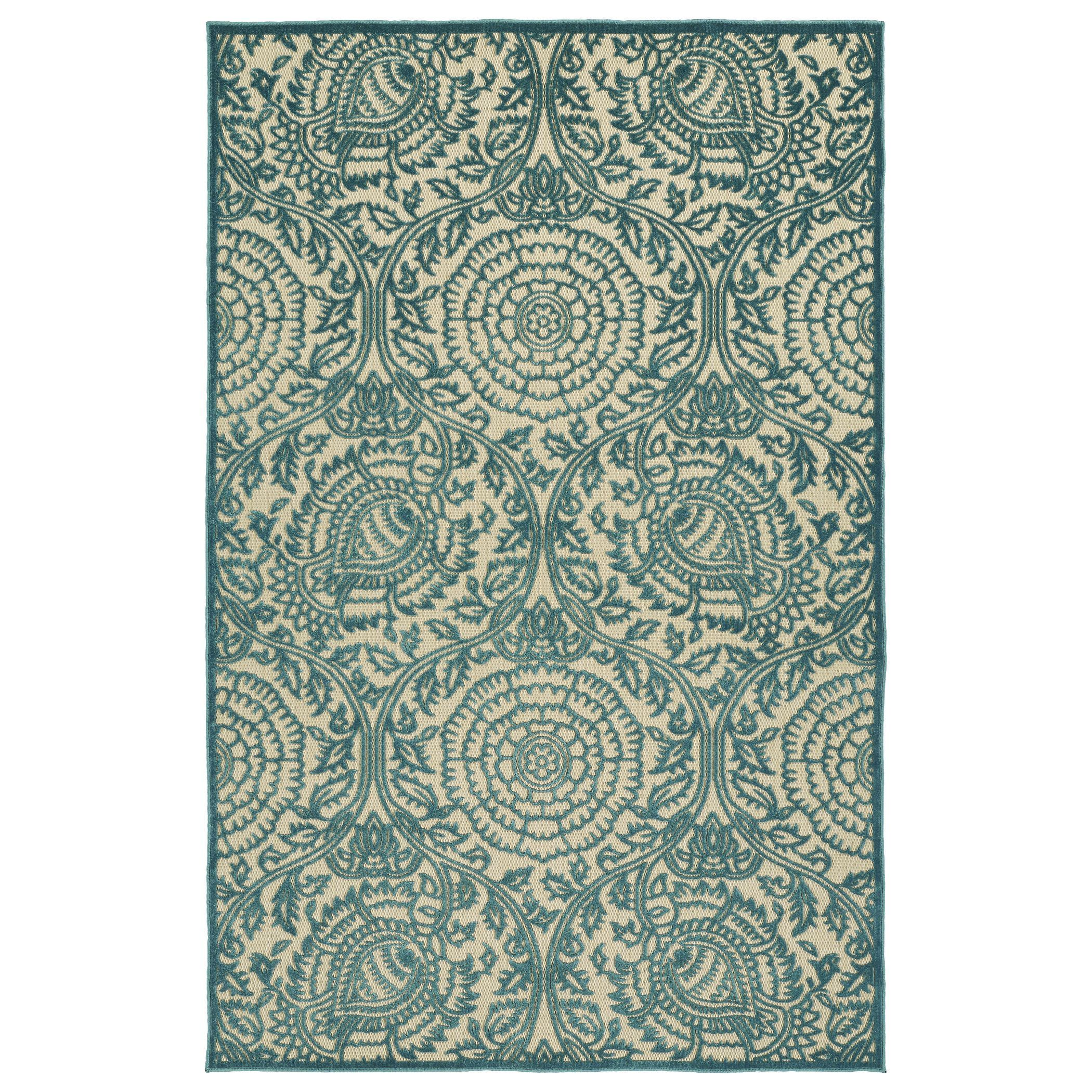 Machine-Made in Turkey of 100% Polypropylene, this easy to clean Indoor/Outdoor rug is UV protected and mildew resistant for many seasons of durability.  Detailed Colors: Light Blue, Beige