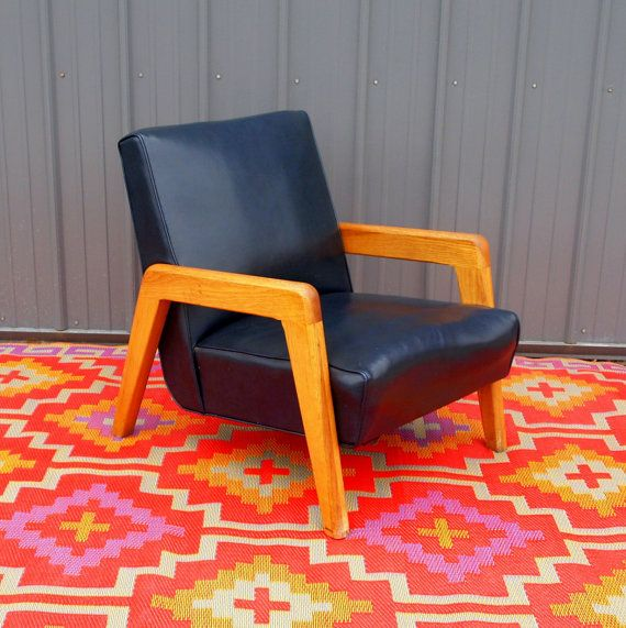 MID CENTURY MODERN Arm Chair   Thnoet   Danish Modern Design Lounge Chair    Navy Blue Faux Leather   Teak Wood   Reading Chair   Vintage 60s