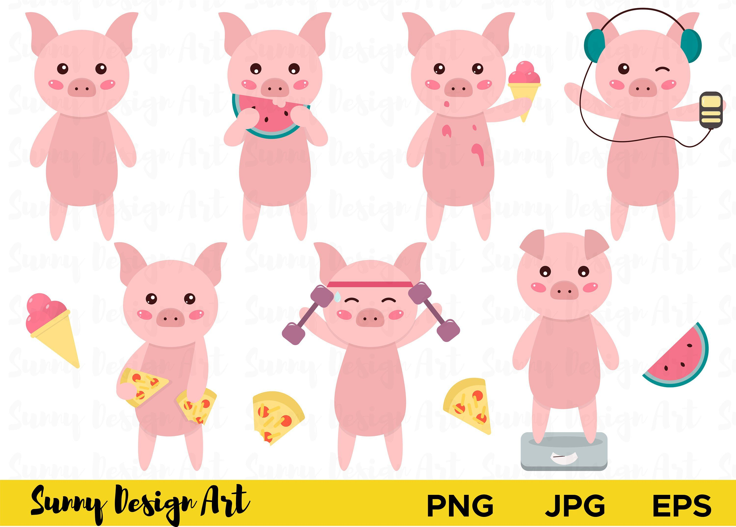 Cute pig clipart vector piglets cartoon pig pigs clipart set