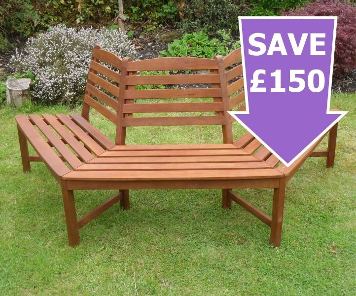 Circle Tree Bench ~ Henley half round tree seat hardwood garden bench