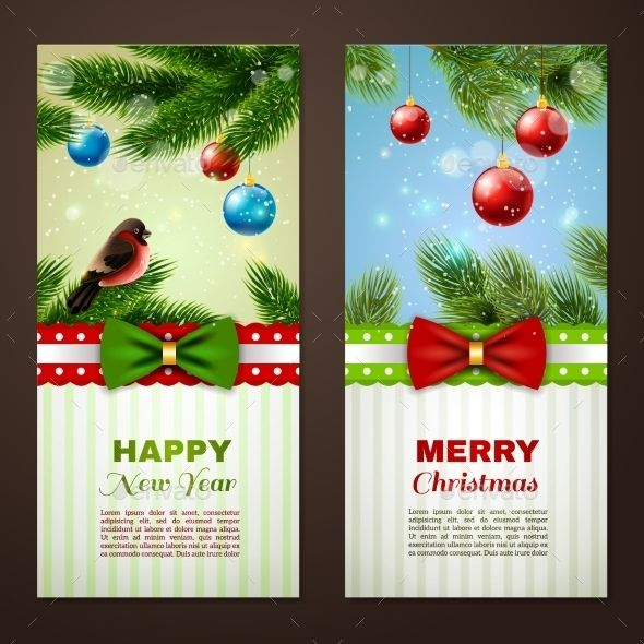christmas and new year season classic greetings cards samples 2 vertical banners set abstract isolated vector illustration editab