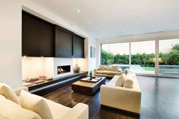 Moderne Wohnzimmer Einrichtung Ideen Kamin Beige Sofa Wohnzimmer