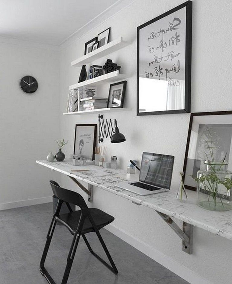 23+ Awesome Minimalist Black White Home Office Decorating